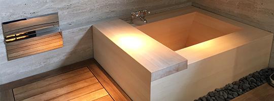 シンガポール個人邸の角型浴槽